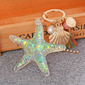 New Fashion Unique Creative Keyrings Starfish Shell Sea Snail Simulated Pearl Penadnt Keychains Women Trinket Jewelry