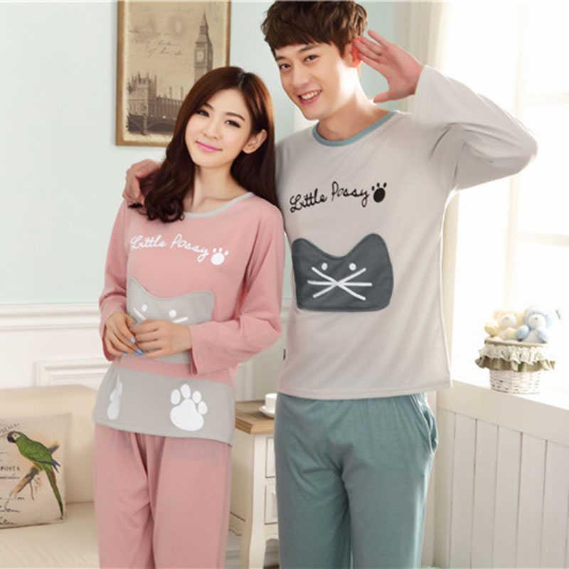 e777b3b9e0 Cute Cat Pajamas Sets Letter Printed Patchwork Autumn Winter Pyjamas Couple Long  Sleeve Women Sleepwear