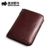 Buffalo Leather Wallet Male Short Head Layer Cowhide Wallet Card Multi Vertical Retro Youth Wallet Purse