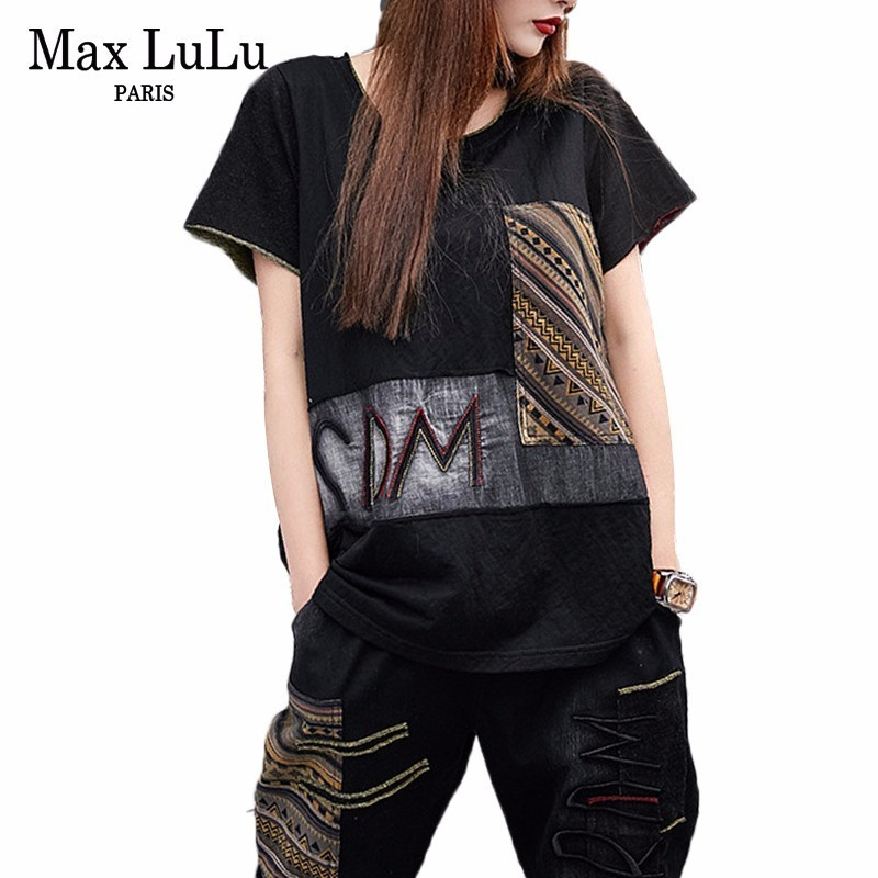 Max LuLu 2019 Summer Luxury Girls Korean Punk Embroidery Clothes Women Printed Denim Tops And Pants