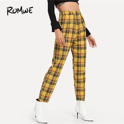 ROMWE плед молния сбоку штаны Повседневное Демисезонный середине талии молния летать плавки Для женщин брюки морковь многоцветные брюки