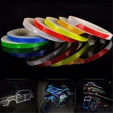 Fashion DIY Reflective Stickers Motorcycle Bicycle Reflector Safety Warning Rim Decal Tape(China)