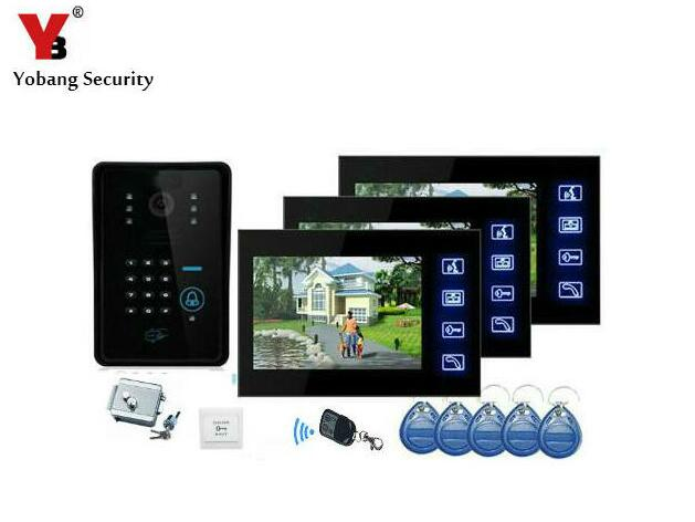Yobang Security 7 inch wired video door phone with RFID keyfobs,7 Video Intercom IR Camera,video citofono wired video porteiro wireless 433mhz signal repeater rt 101 for 433mhz chuango alarm system and s4 alarm system