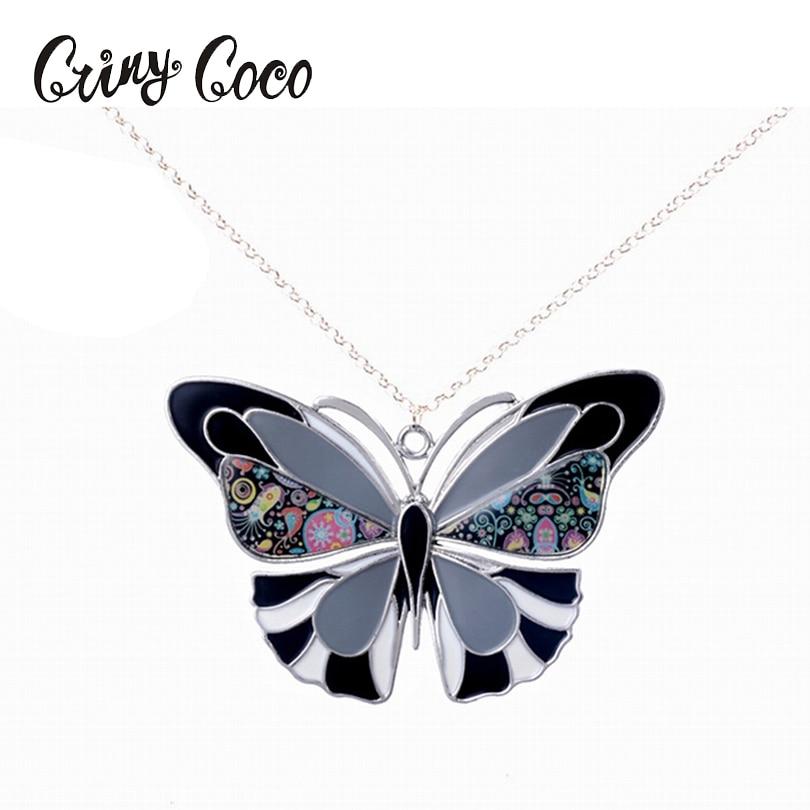 Ogrlica z metulji obesek Trendi emajl Cink Zlitine Charm Girl obesek kovinski dolge ženske ogrlica verigo ženske nakit na debelo