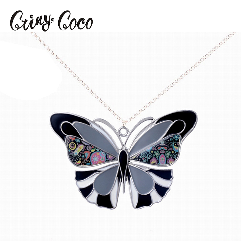 Vlinder ketting hanger trendy emaille zinklegering charme meisje - Mode-sieraden