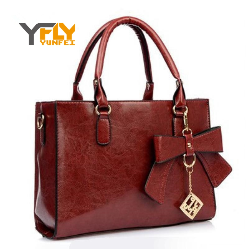 2016 New Design Pu Women Leather Handbags Bow Sequined Chains Shoulder Bags Tote Fashion Vintage For A543