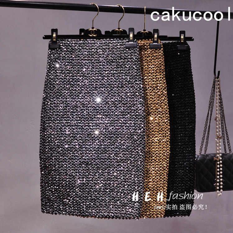 Cakucool nouveau Bling or Lurex jupe moulante crayon jupes haute élastique corée Empire mi longue jupe Sequin Sexy Club kaki argent