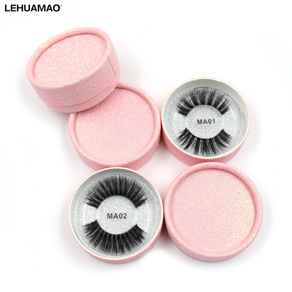 LEHUAMAO Eyelashes 3D Silk Fibroin Transparent Plastic False Eyelashes Natural Long Dramatic False Lashes Pink Round Glitter Box