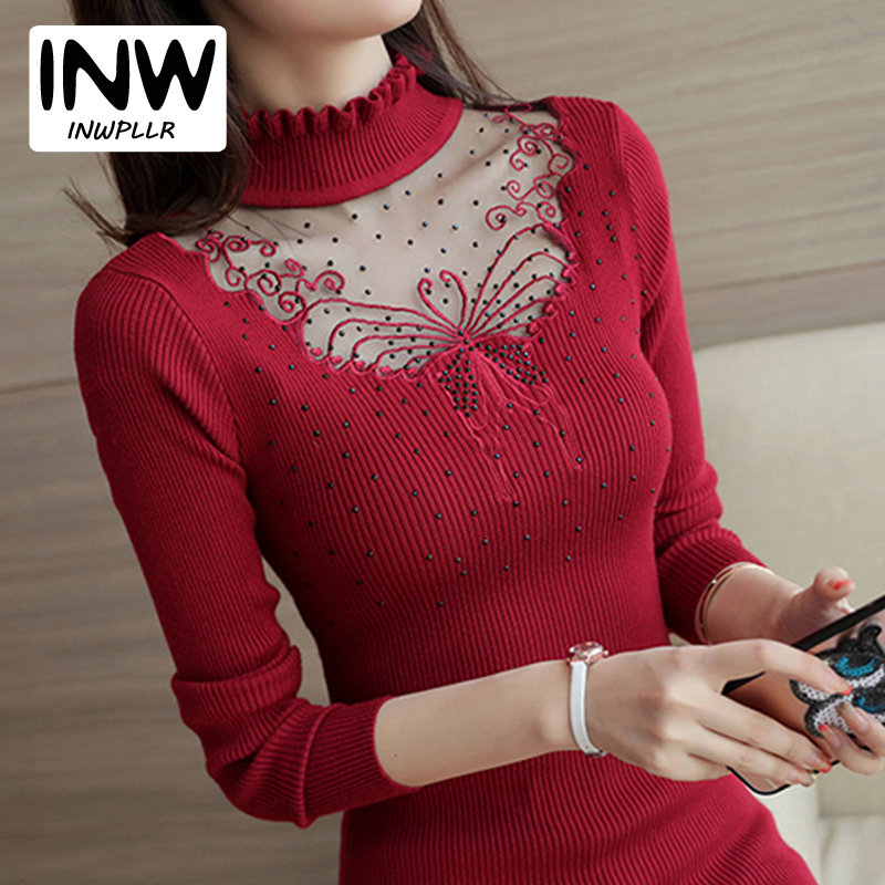 5b819bf29ab05 Detail Feedback Questions about 2019 Women Sweaters Autumn Winter Ruffled  Turtleneck Sweater Female Knit Pullovers Sweaters Butterfly Lace Patchwork  Pull ...