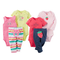 2017 Orangemom Summer Nice Baby Girl Clothes Cotton 3pcs Newborn Baby Pajamas Cartoon PP Pants Infant