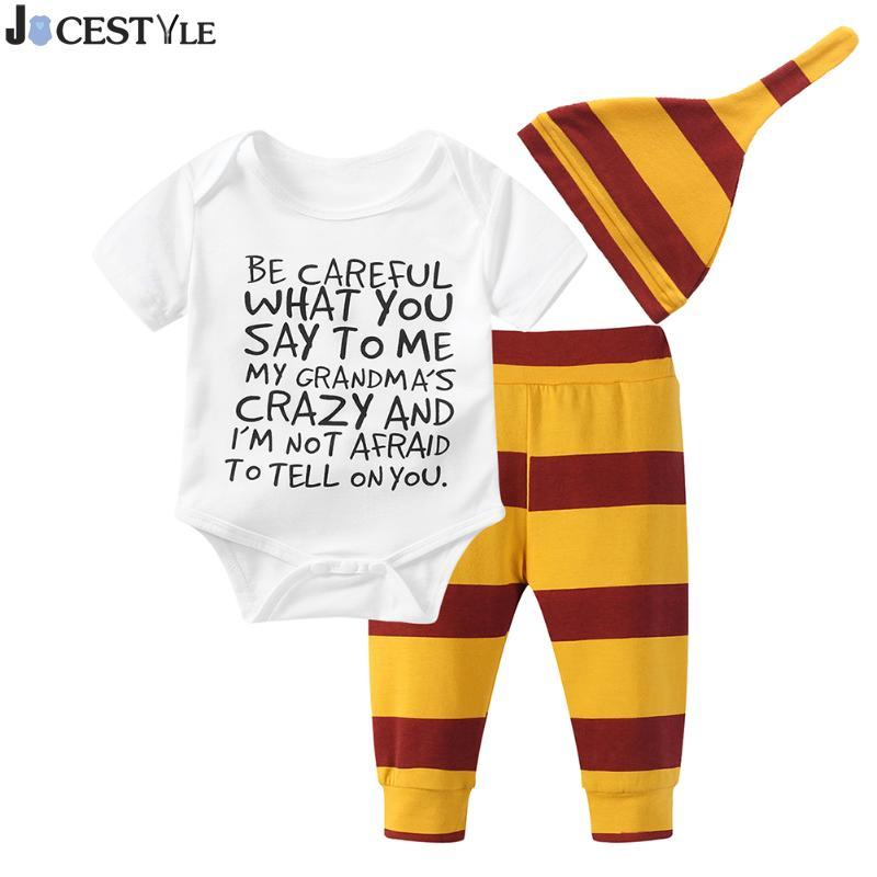 3Pcs/Set 2018 Summer Newborn Toddler Baby Boy Clothes Cotton Short Sleeve Letter Baby Rompers+Pants+Hat Infant Clothing Set