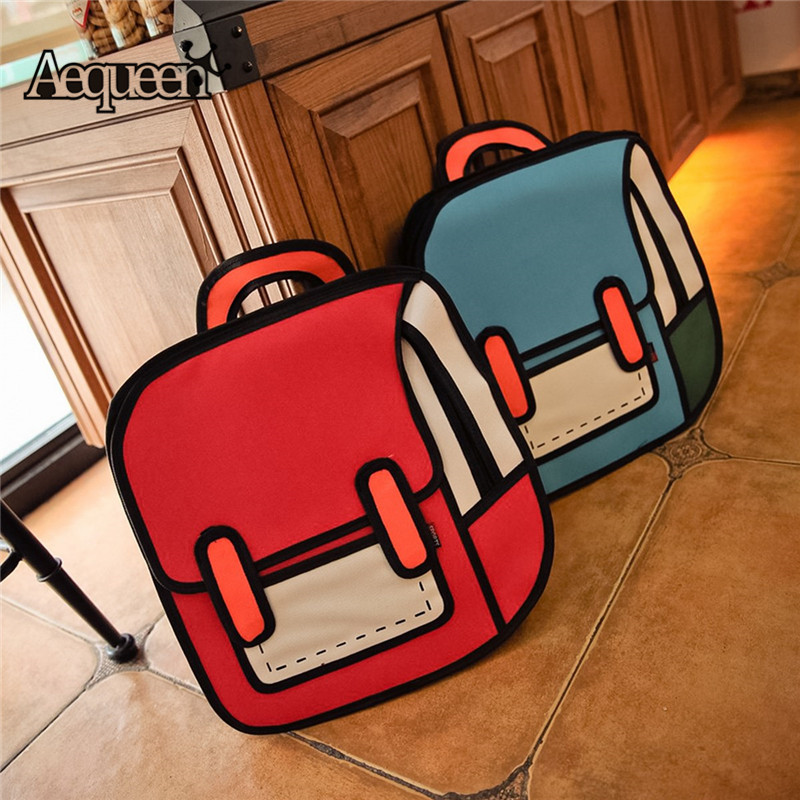 AEQUEEN 3D Printing Canvas Backpacks 2D Drawing Cartoon School Back Pack Bag Cute Student Schoolbag Messenger Feminine Backpack