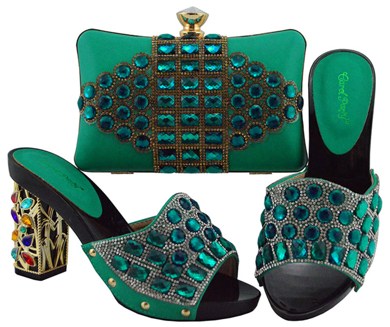 Dark Green color Italian Shoe with Matching Bags High Quality African Shoe and Bag Set for Party In Women Nigerian Shoes FGT003