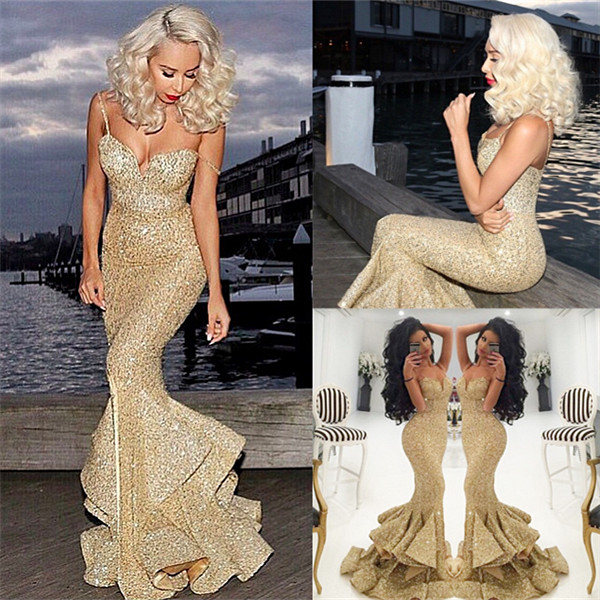 Sexy Gold Sequins Mermaid Evening Dress 2017 Sweetheart Spragheeti Strap  Prom Dress with Split Vestido De Festa