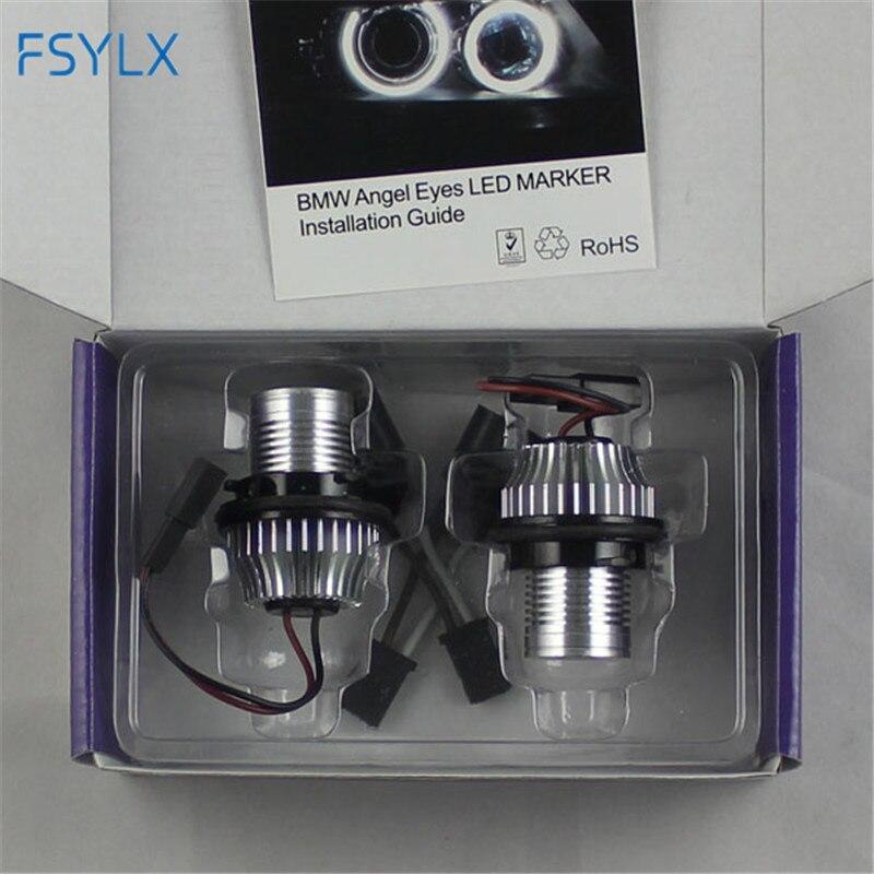 FSYLX 10 K 6000 W levou Angel Eyes para bmw e60 LEVOU Marcador Luzes de Halo Anéis para BMW E39 E53 e65 E66 E60 E61 E63 E64 E87 car styling