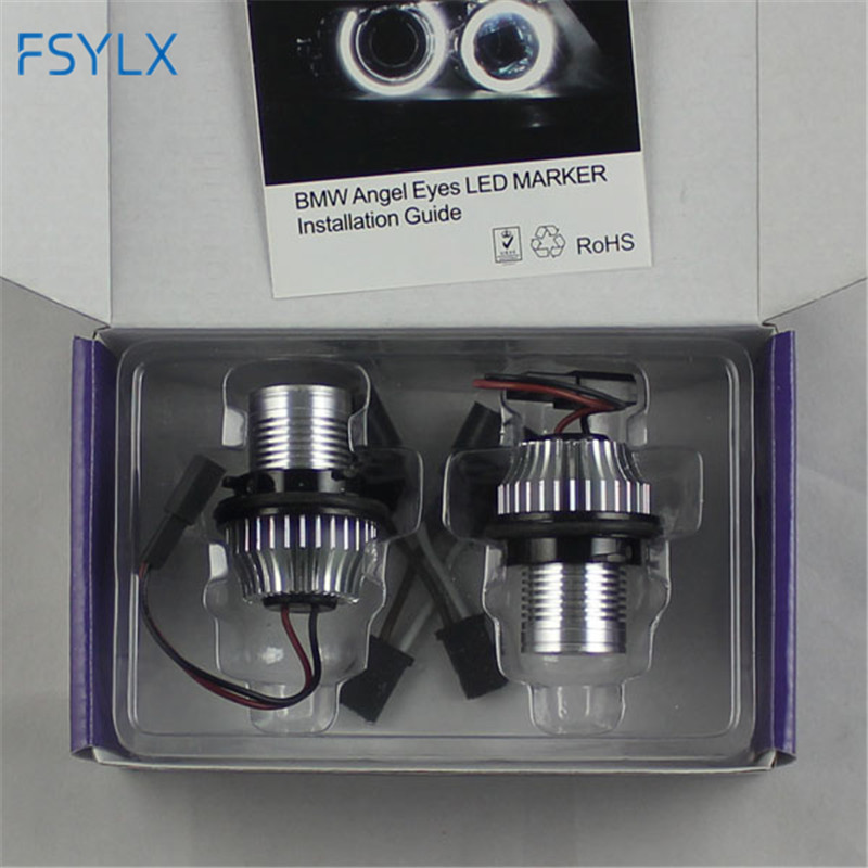 FSYLX 1SET 10W 6000K Angel Eyes LED Marker Lights Halo Rings for BMW E39 E53 E65 E66 E60 E61 E63 E64 E87 car styling free sgipping latest new 12v 20w led marker car angel eyes bulb for bmw e39 e53 e61 e64 e65 e66 e87 led headlight bulbs