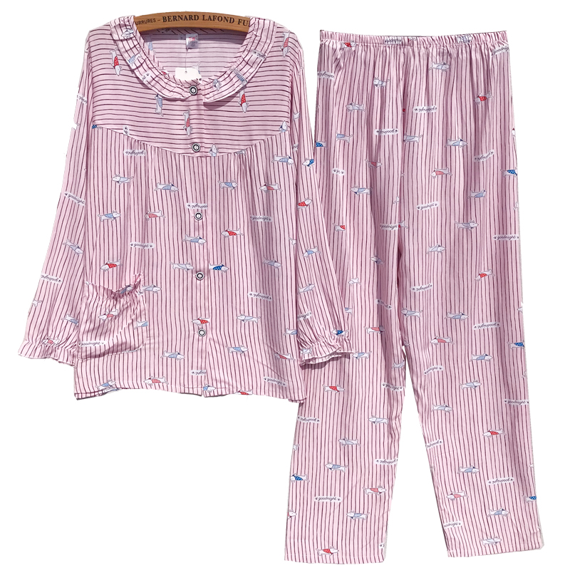Korea Spring Pink color Cotton pajamas sets for women Simple Long-sleeved Pants Puppy Women Pyjamas Striped Sleepwear