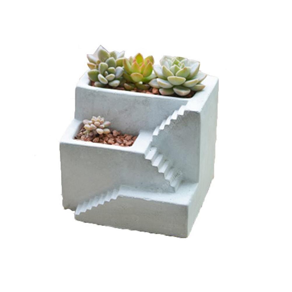 Style nordique carré bâtiment escaliers forme béton Silicone moule ciment argile artisanat plantes succulentes Pot gypse plâtre moule