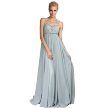 2017 Chiffon Light Blue Bridesmaid Dresses Long Beading Crystal Backless Maid of Honor Plus Size Wedding Party Gowns EM03532