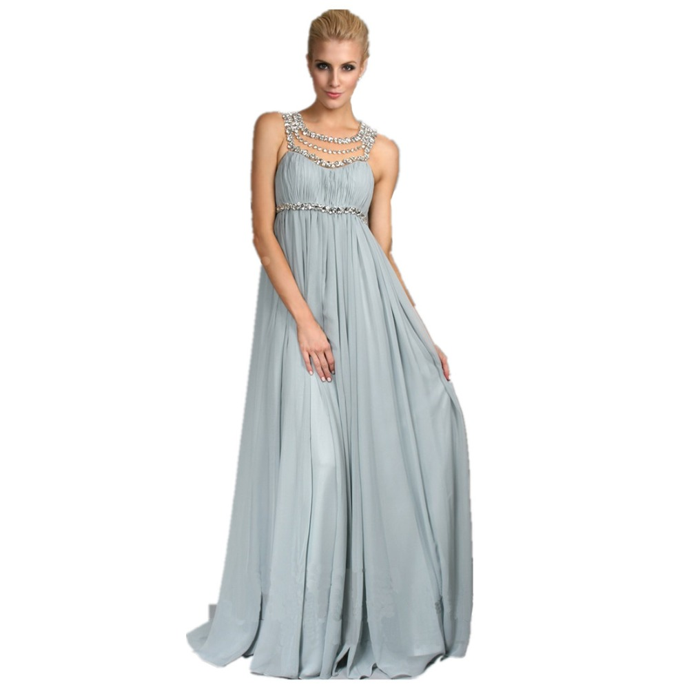 2018 Chiffon Light Blue Bridesmaid Dresses Long Beading Crystal ...