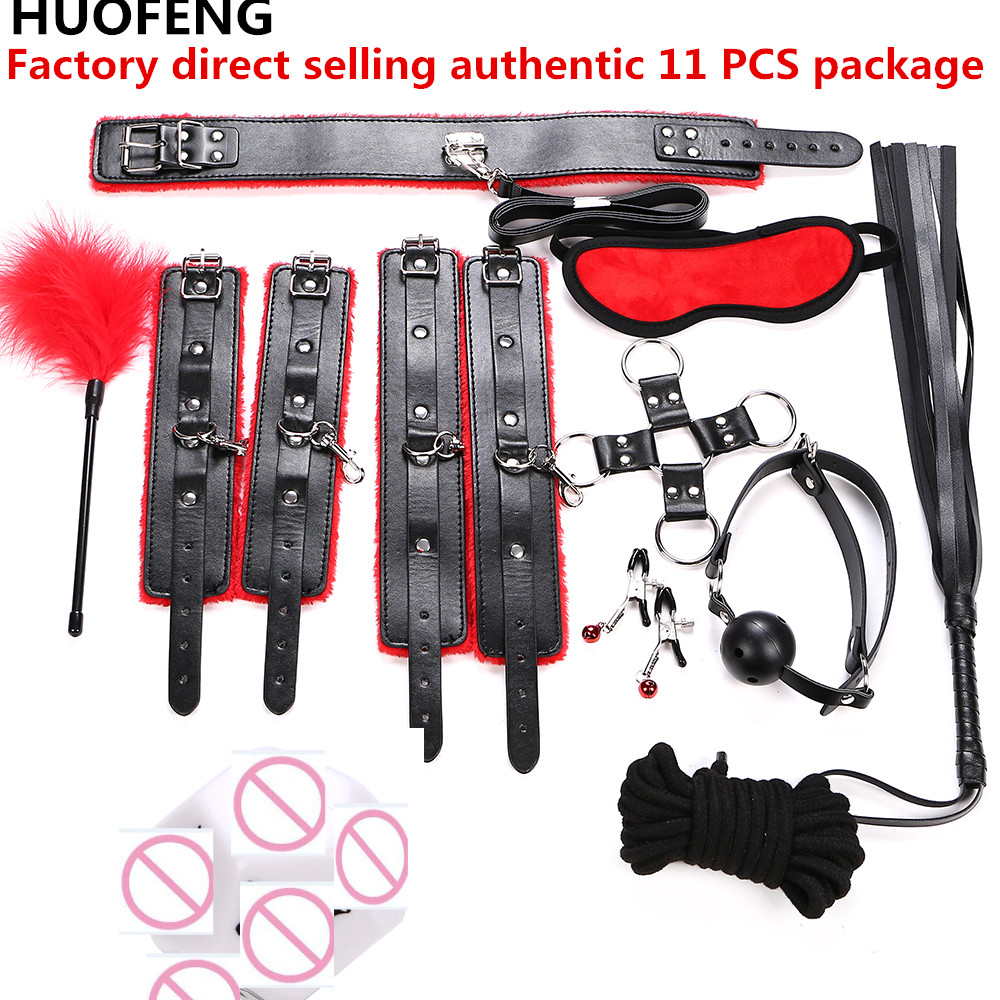 7 9 11pcs/set Adult Games Leather adult games Sex Kits Set Hand Cuffs Whip Rope Mask Fetish Restraints SM for married couples