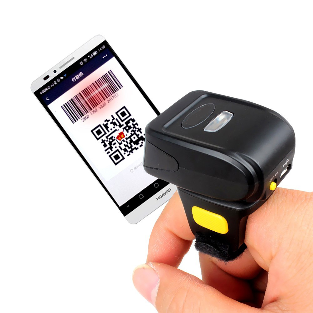 Mini Bluetooth Portable Ring 2D Scanner Barcode Reader For IOS Android Windows PDF417 DM QR Code 2D Wireless Scanner
