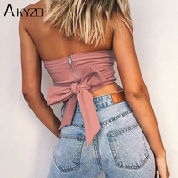 AKYZO Sexy Beach Off Shoulder Strapless Tank Tops 2017 Pink Bow Tie Casual Cute Summer Female