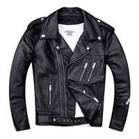 HARLEY DAMSON Black Men Double Zipper Biker's Leather Jacket Plus Size XXXX Genuine Thin Cowhide Spring Slim Fit Motorcycle Coat