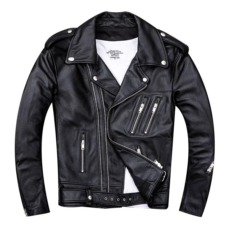 HARLEY DAMSON noir hommes Double fermeture éclair veste en cuir de motard grande taille XXXX véritable mince peau de vache printemps Slim Fit moto manteau