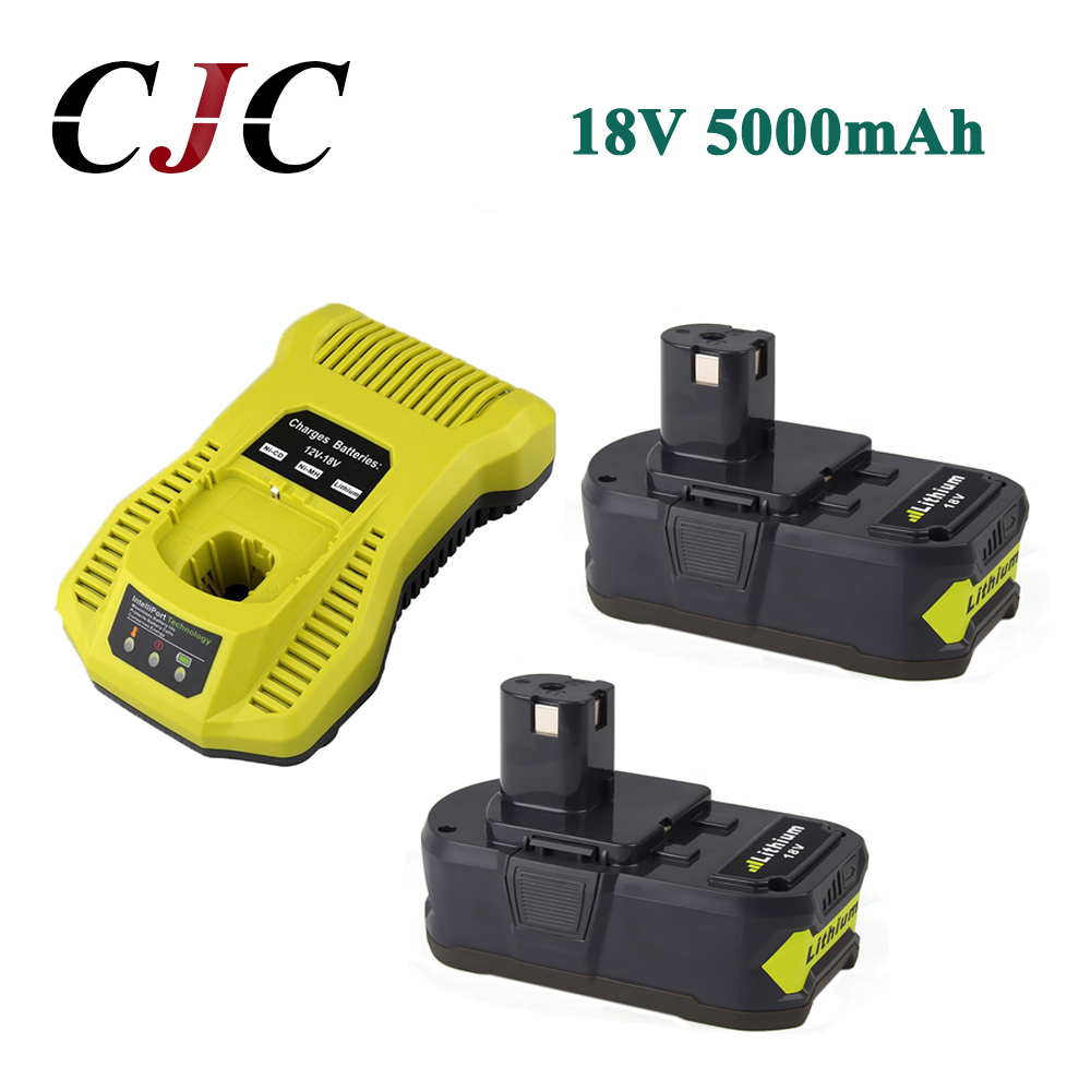 2x 18V 5000mAh Li-Ion Rechargeable Battery For Ryobi P108 RB18L40 P2000 P310 For Ryobi For ONE+ BIW180 With 12-18V Charger eleoption with charger 18v 5000mah li ion rechargeable battery for ryobi 18v battery and charger p108 p310 for one biw180