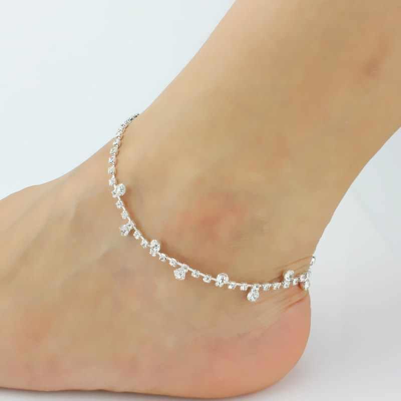 L189 Bijoux nowy Punk mężczyźni Boho plaża miłość dziewczyna cyrkonia posrebrzana kryształ obrączki dla kobiet stóp biżuteria boso sandały