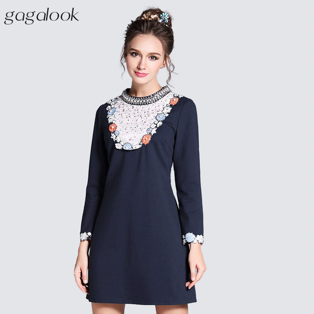 Gagalook Lace Trim Vintage Dress Women Beaded And Pearl Embellished