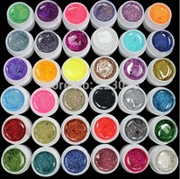 Hot DIY 36 PCS Glitter Mix Color UV Builder Gel Acrylic Set for Nail Art Tips Nail Art