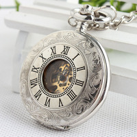 Luxury Mechanical Pocket Watch Chain Silver Double Open Face Hollow Skeleton Clock Hand Winding Watch Fob