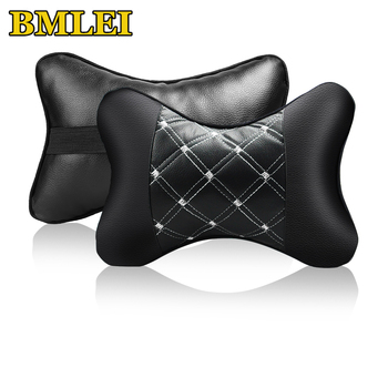 2020 New Mini Universal Car Headrest Support Neck Pillow Both Side PU Leather Auto Head Neck Pillow Pad for 4 Seasons image