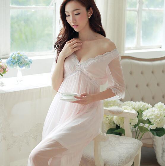 Sexy camisola feminina verão novo palácio retro rendas princesa gaze deusa longo Sleepwear T341