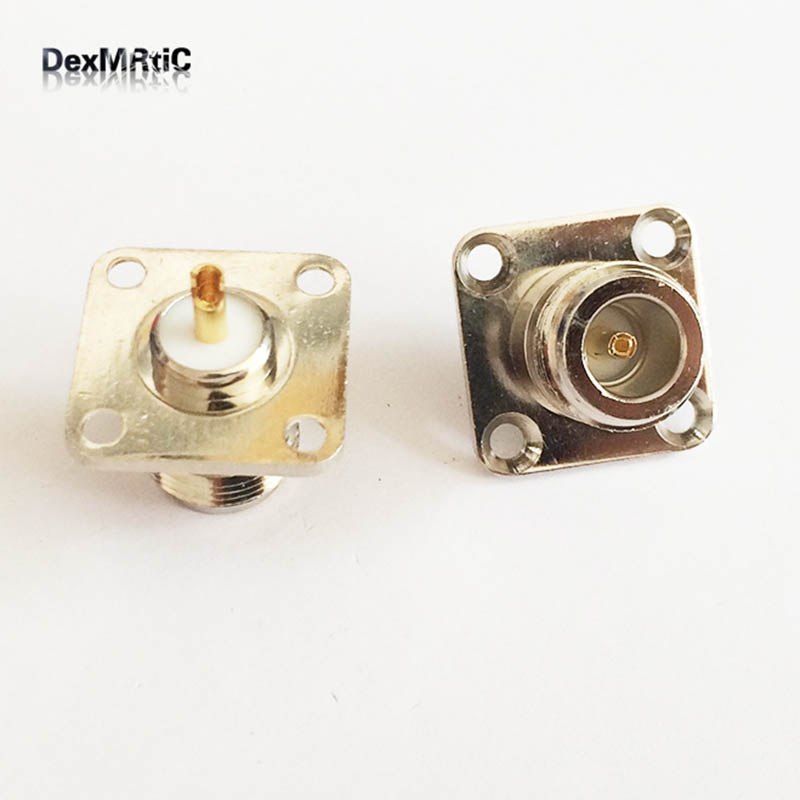 1pc   N type N Female Jack  RF Coax Connector 4-hole panel mount solder cup Cable Nickelplated NEW  wholesale home plastic round flush mount cable connector hole plugs covers white 25x25mm 8pcs