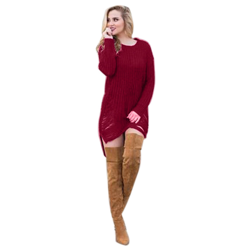 2018 Casual Women Knitted Sweater Dresses Long Sleeve Pullover O Neck Front Short Long Back Loose Black Sweater Knitted Dress