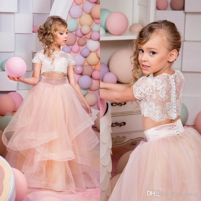 c61a91f5bbd5f Graceful 2 Piece Lace Flower Girl Dresses For Weddings Lace Corset Ruffles  Organza Kids Evening Gowns