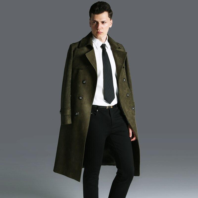 Модный мужской однотонный двубортный длинный Тренч, большие размеры, весна осень, военный зеленый армейский классический замшевый плащ с п