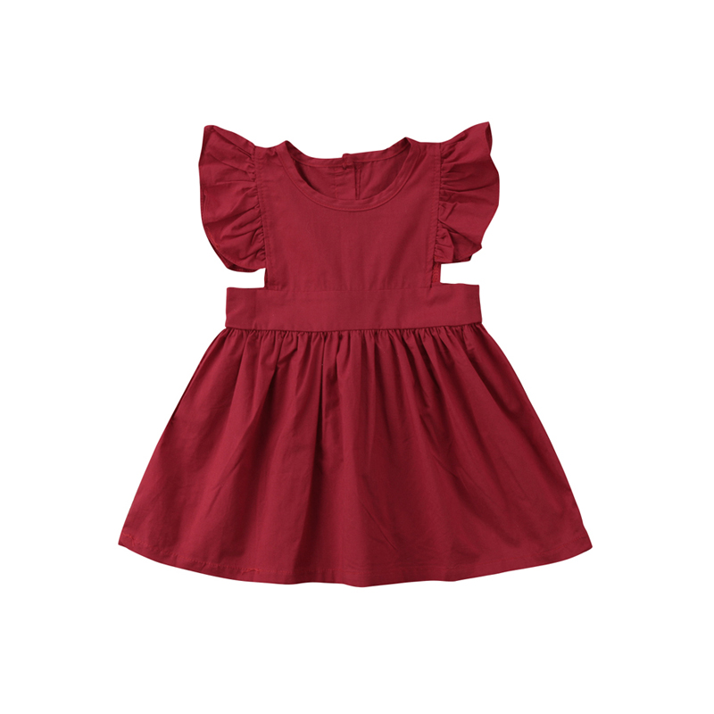 Cute Fashion Summer Newborn Infant Baby Girls Cotton Petal Sleeve O-Neck A-Line Knee-Length Red Princess Dress Outfit Party