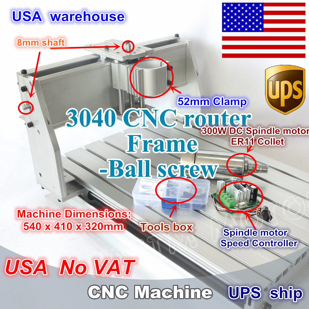 ship USA New 3040Z-DQ CNC router Engraver Engraving milling machine mechanical frame kit ball screw with 300W DC spindle motor wood cnc router 3040z dq mill frame aluminum table alloy engraving machine part