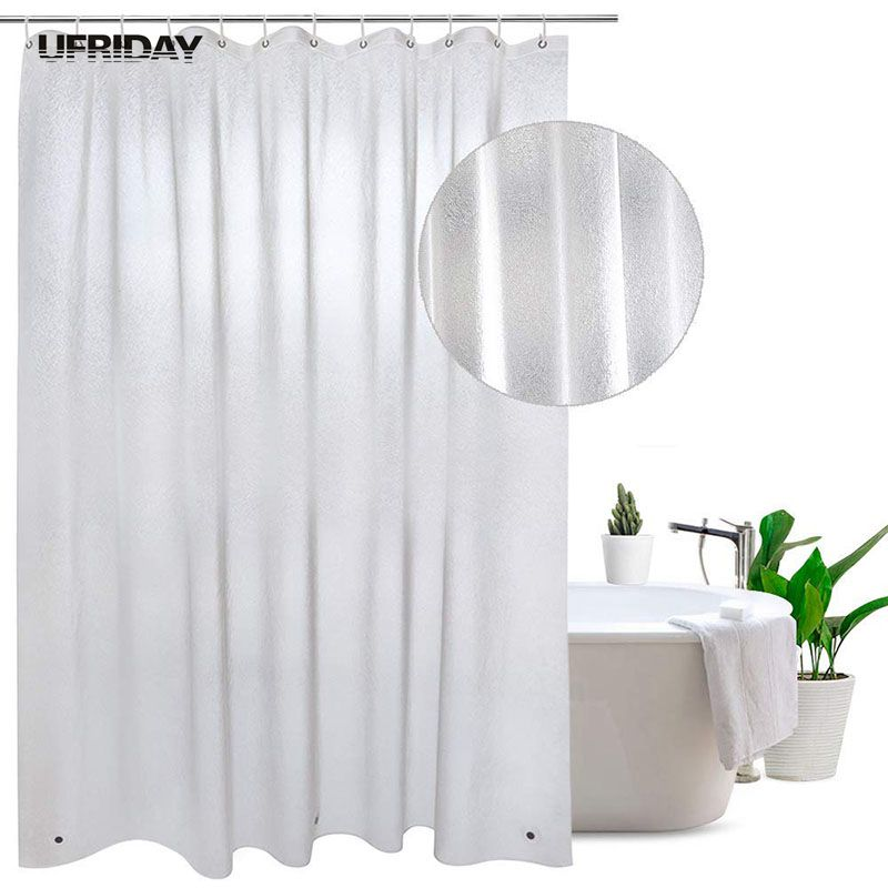 UFRIDAY Nordic Translucent Plastic Waterproof Shower Curtain Silk Pattern Frosted Bathroom 3D Thickened Bath Curtains