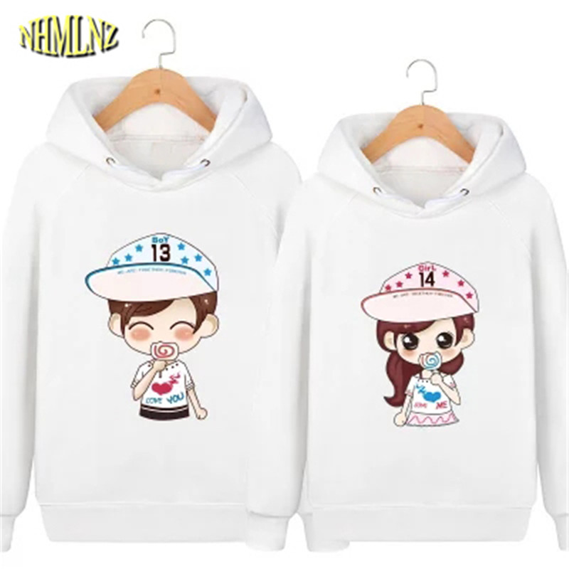 0e3ddb61ca2a 2019 Autumn and Winter New Women Hoodies Couples Long Sleeves Pullover  Character Pattern Women Coat Fashion Casual Wind WUN147