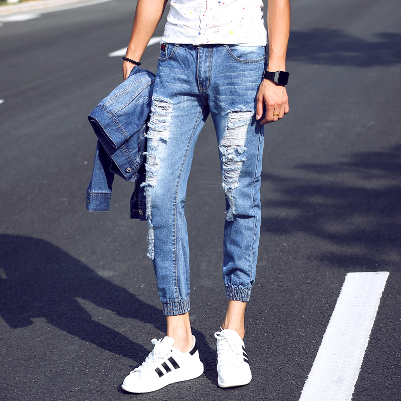 40b884434d7 2016 Summer New Men s Jeans Pants Korean Style Ankle length Blue ...