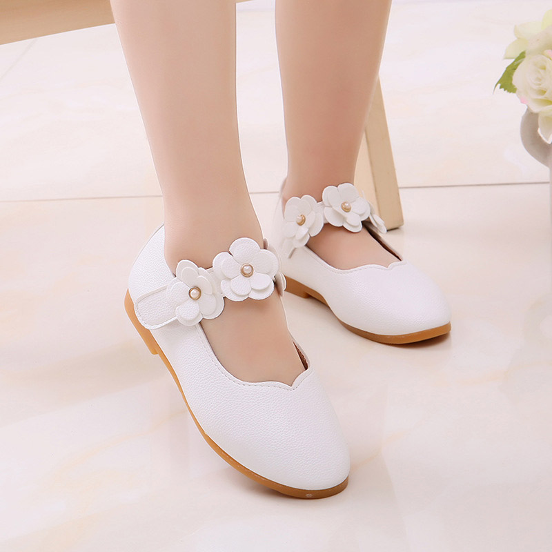 Girls Three-Dimensional Small Flower Leather Shoes Non-slip Breathable Lightweight Princess Shoes M09
