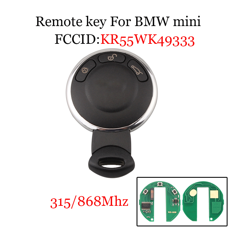 315Mhz/868Mhz For BMW Mini Cooper Smart KR55WK49333 Remote Control Car Key For BMW Mini Cooper 2007-2014 Keyless Entry Key Fob315Mhz/868Mhz For BMW Mini Cooper Smart KR55WK49333 Remote Control Car Key For BMW Mini Cooper 2007-2014 Keyless Entry Key Fob
