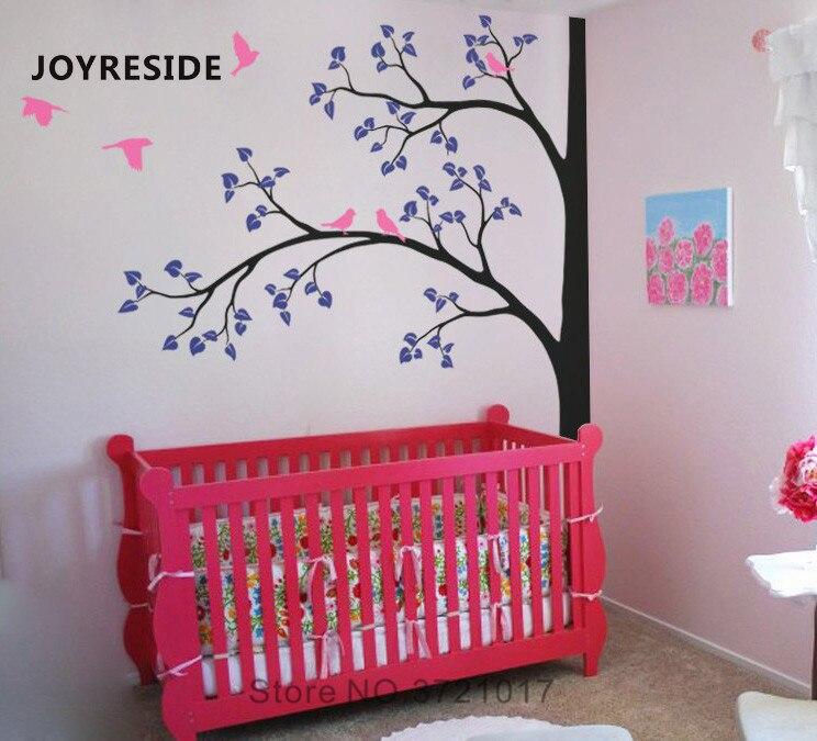 Joyeux enfants arbre énorme arbre mur décalcomanie oiseaux arbres mur autocollant vinyle décor maison enfants chambre décor intérieur Design A1044