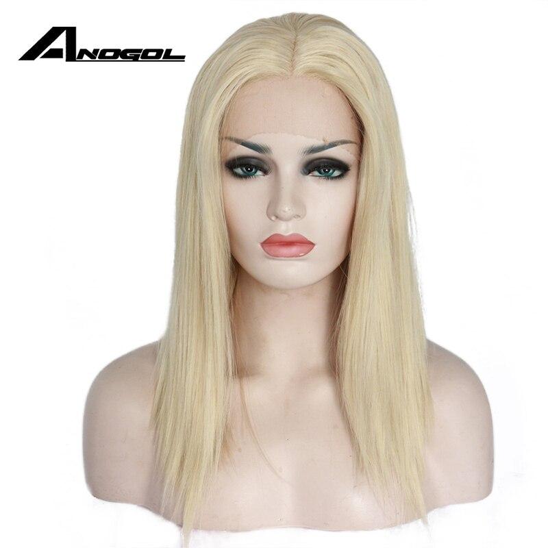 Anogol Haute Température Fiber De Cheveux Perruques Moyen Épaule Longueur Droite Bob Platinum Blonde Synthétique Avant de Lacet Perruque Pour Les Femmes