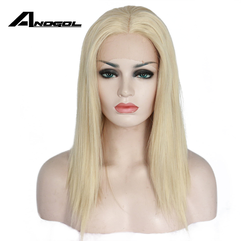 Anogol High Temperature Fiber Hair Wigs Medium Shoulder Length Straight Bob Platinum Blonde Synthetic Lace Front Wig For Women